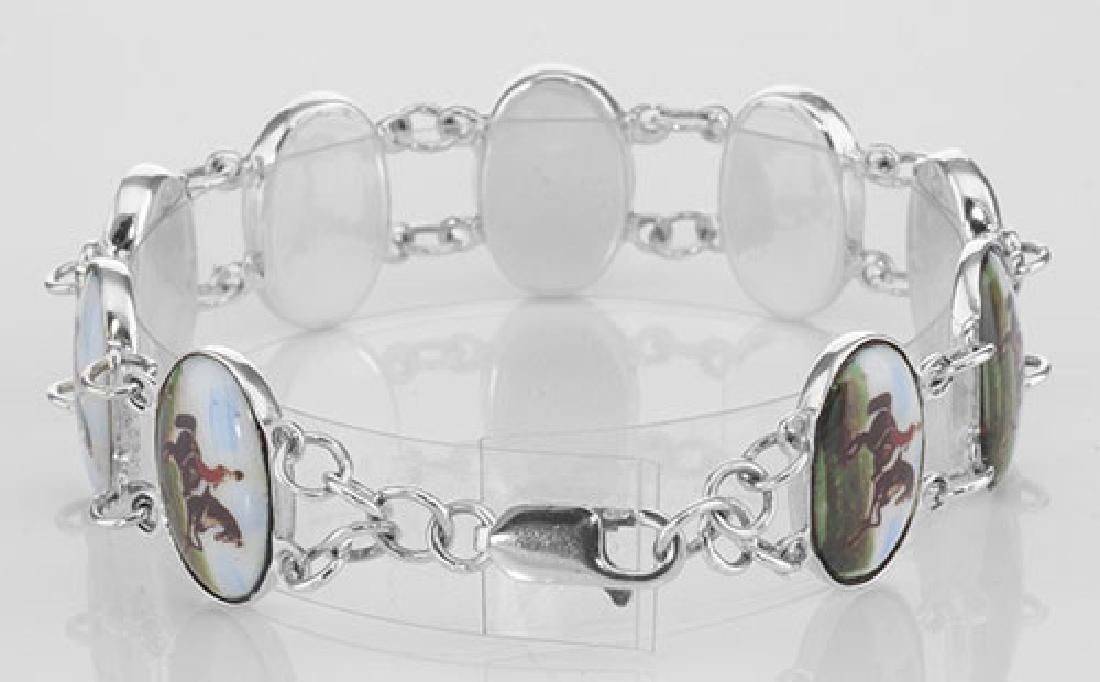 Horse / Rider Porcelain Top Bracelet - Dressage Sterlin - 2