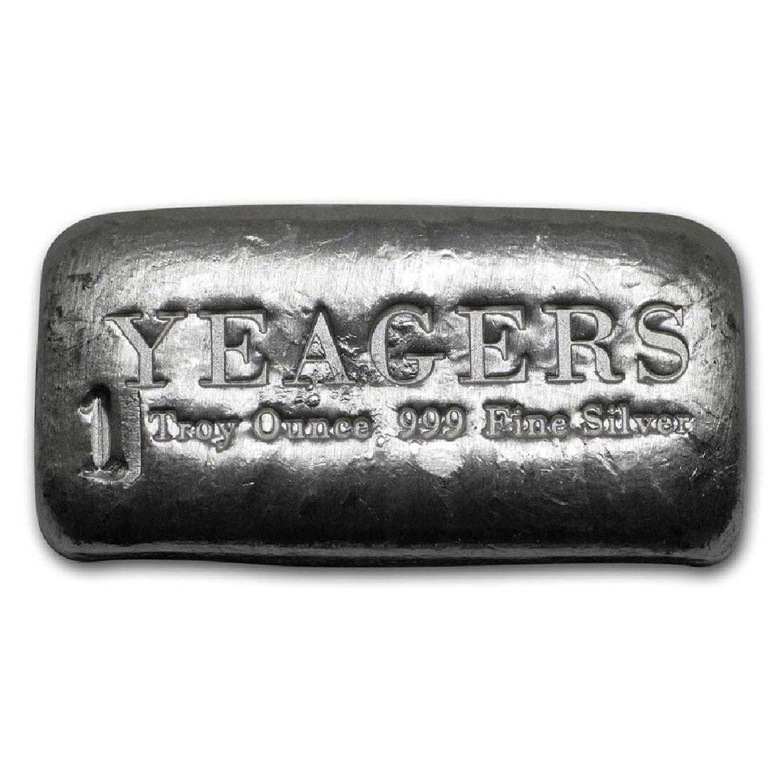 1 oz Silver Bar - Yeager Poured Silver (Bare Bones Bull