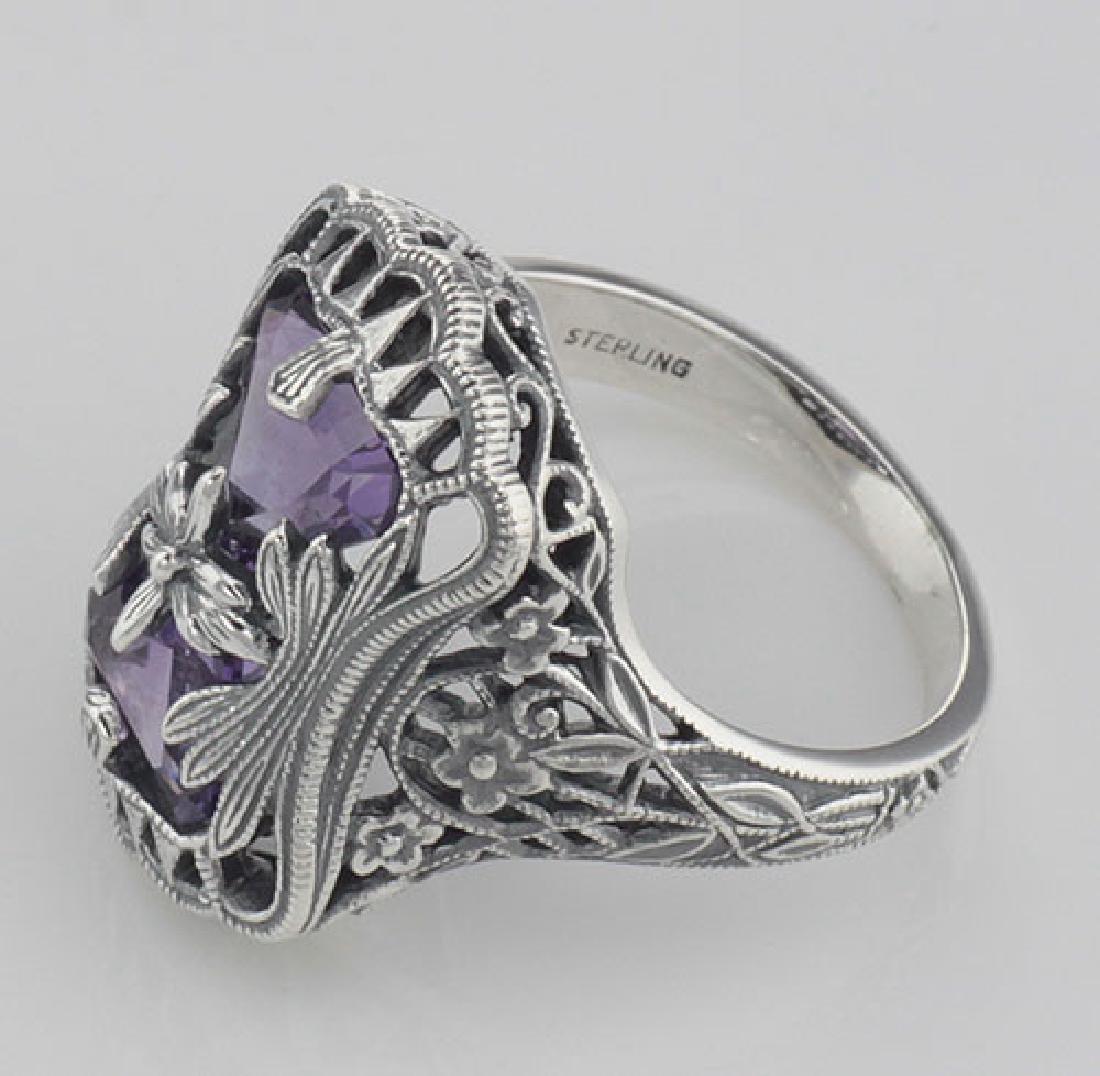 Art Deco Style Amethyst Filigree Ring with Flower Desig - 3