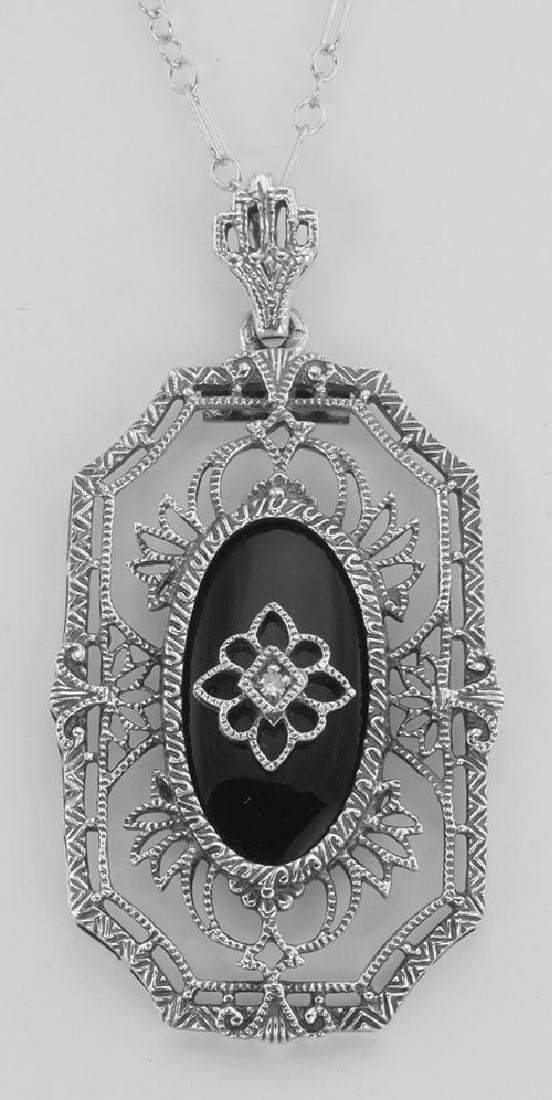 Art Deco Style Black Onyx Diamond Pendant with Chain -