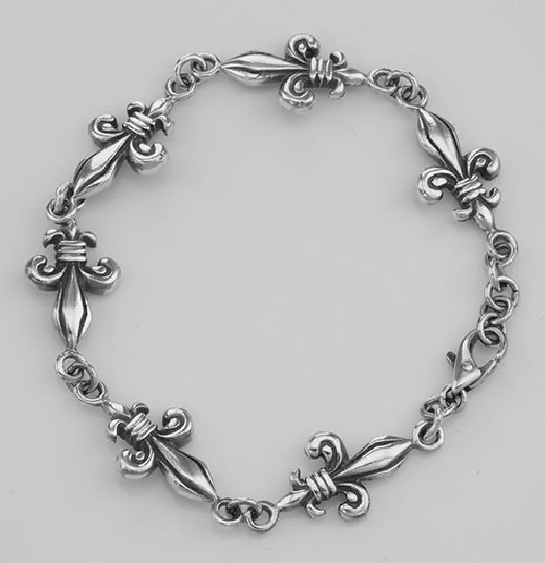 Antique Style French Fleur de Lis Bracelet - Sterling S