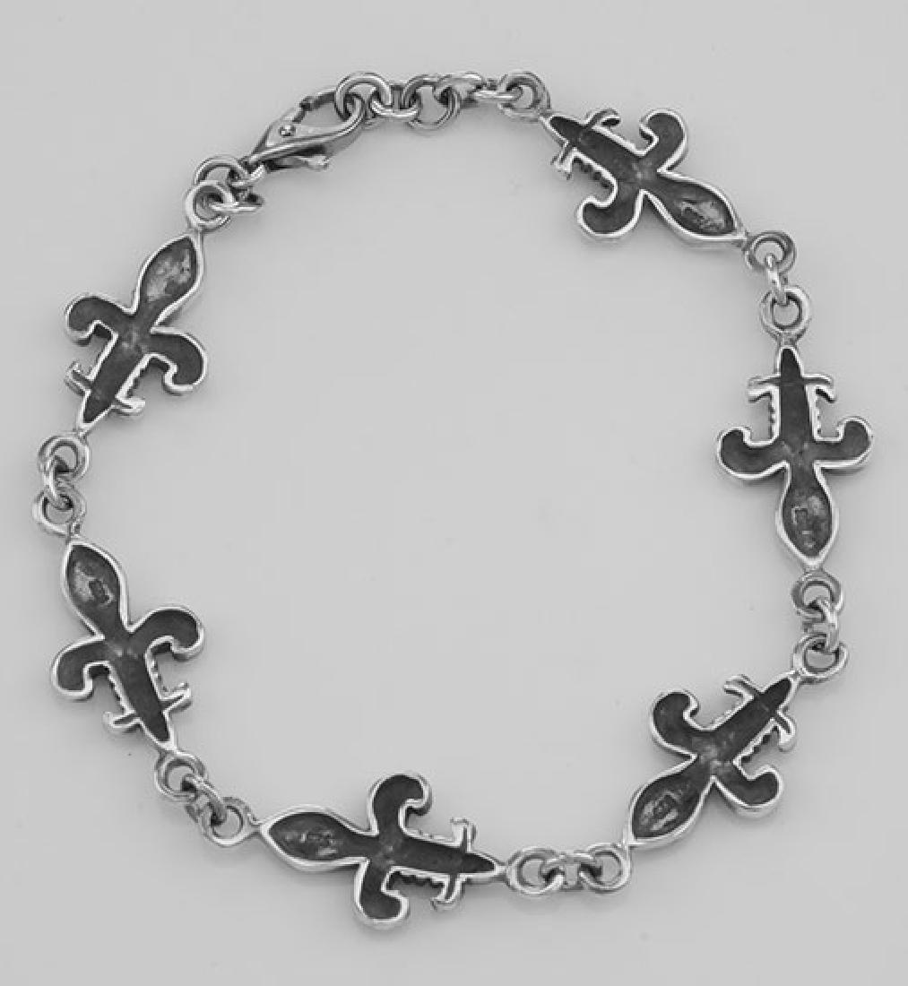 Antique Style French Fleur de Lis Bracelet - Sterling S - 2