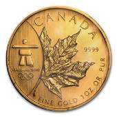 2008 Canada 1 oz Gold Maple Leaf BU Vancouver Olympics