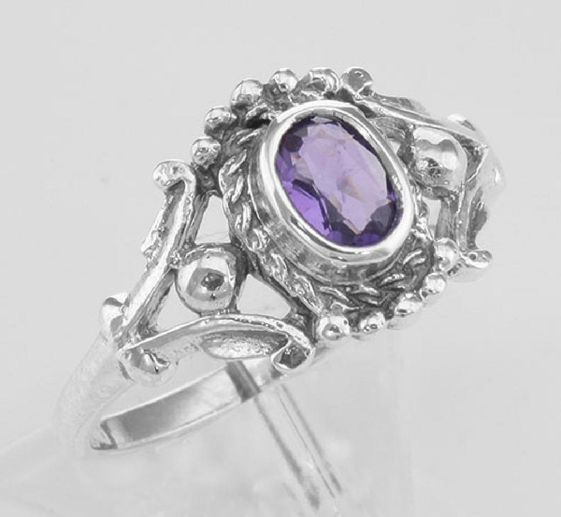 Antique Style Genuine Amethyst Gemstone Ring - Sterling