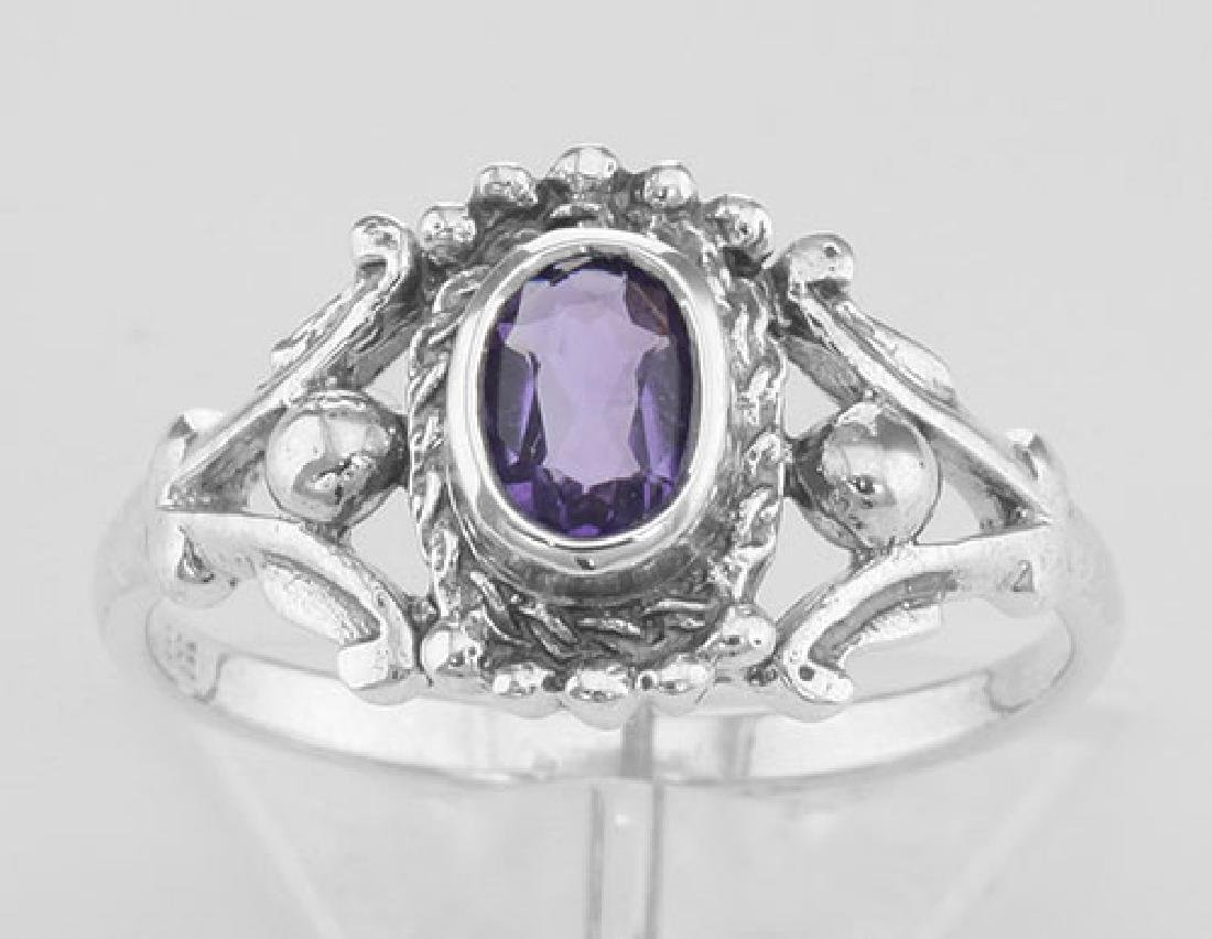 Antique Style Genuine Amethyst Gemstone Ring - Sterling - 2