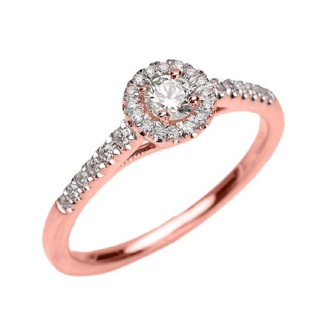 14k Rose Gold Diamond and White Topaz Dainty Engagement
