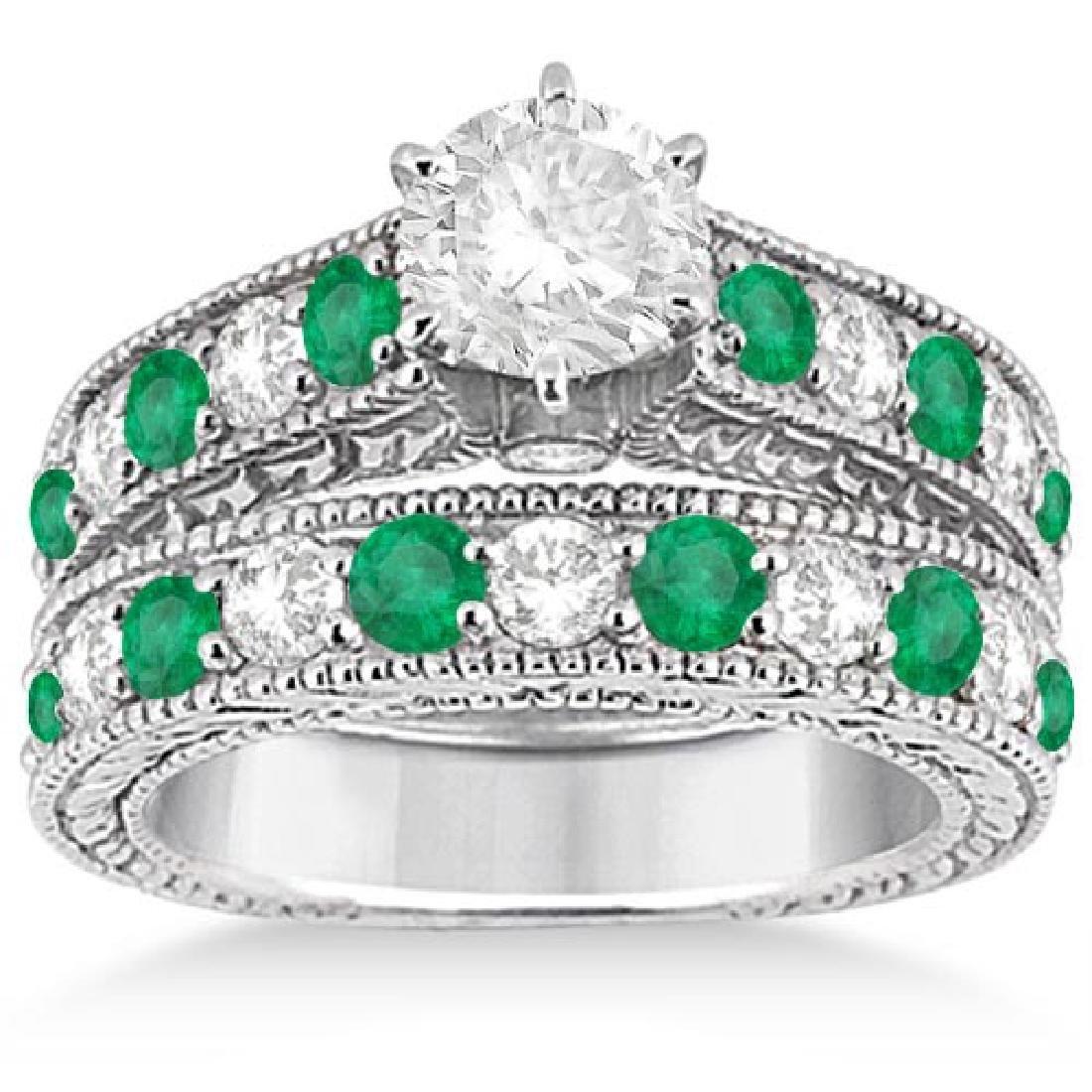 Antique Diamond and Emerald Bridal Ring Set 18k White G