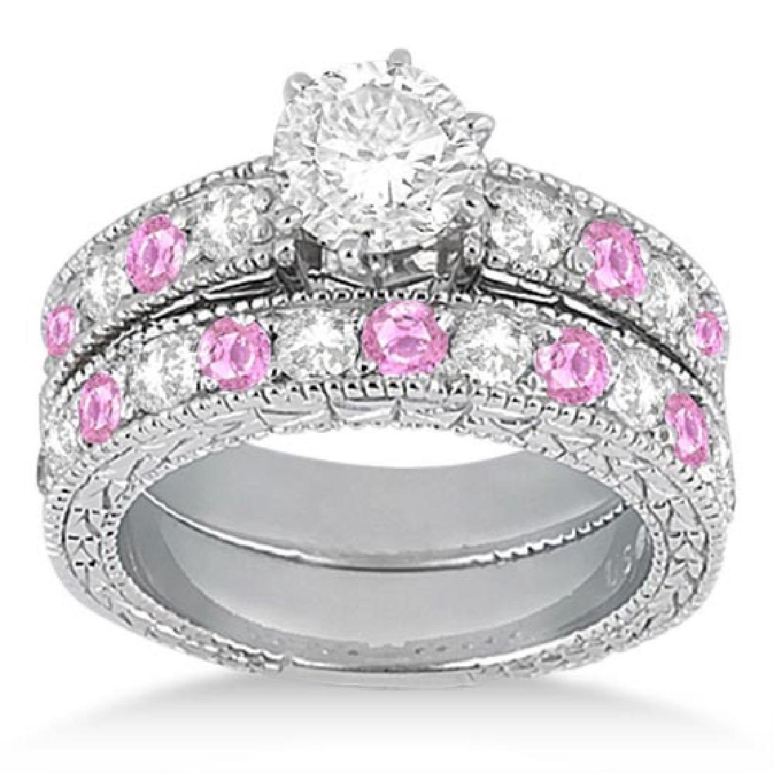 Antique Diamond and Pink Sapphire Bridal Set 14k White