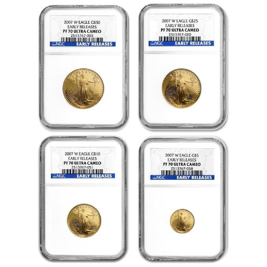 2007-W 4-Coin Proof Gold American Eagle Set PF-70 NGC (