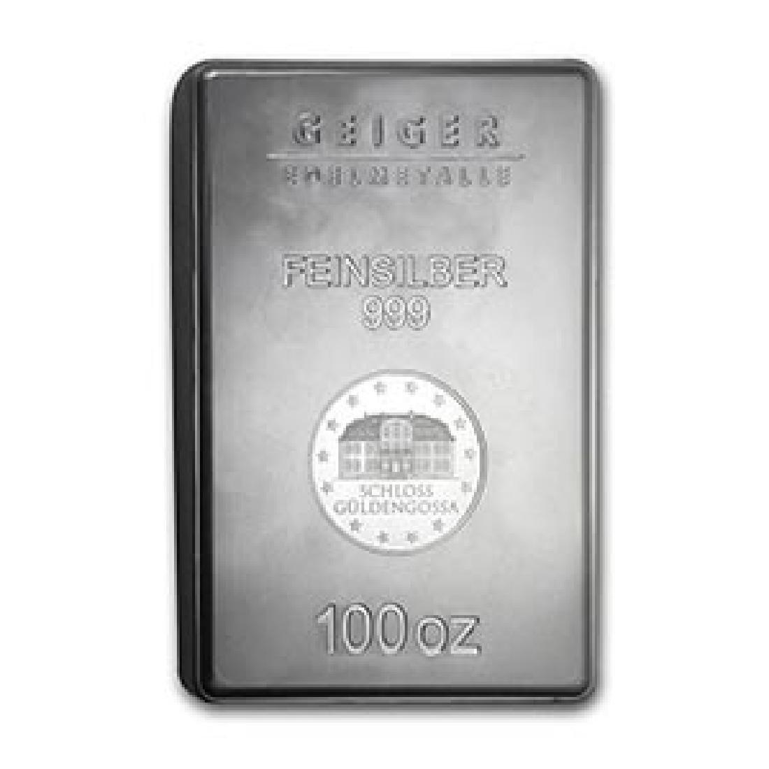 100 oz Silver Bar - Geiger (Security Line Series, New)