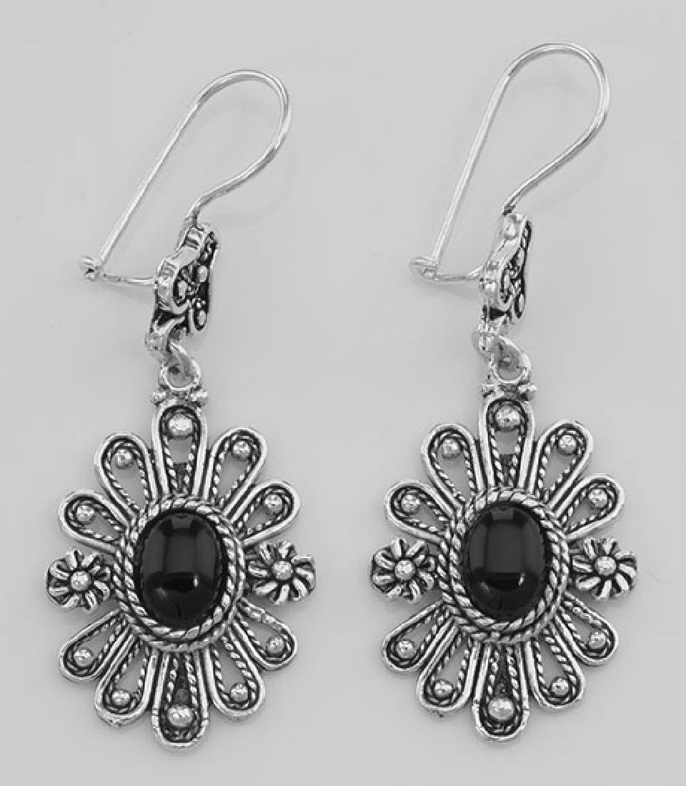 Antique Style Black Onyx Earrings with Flower Design -