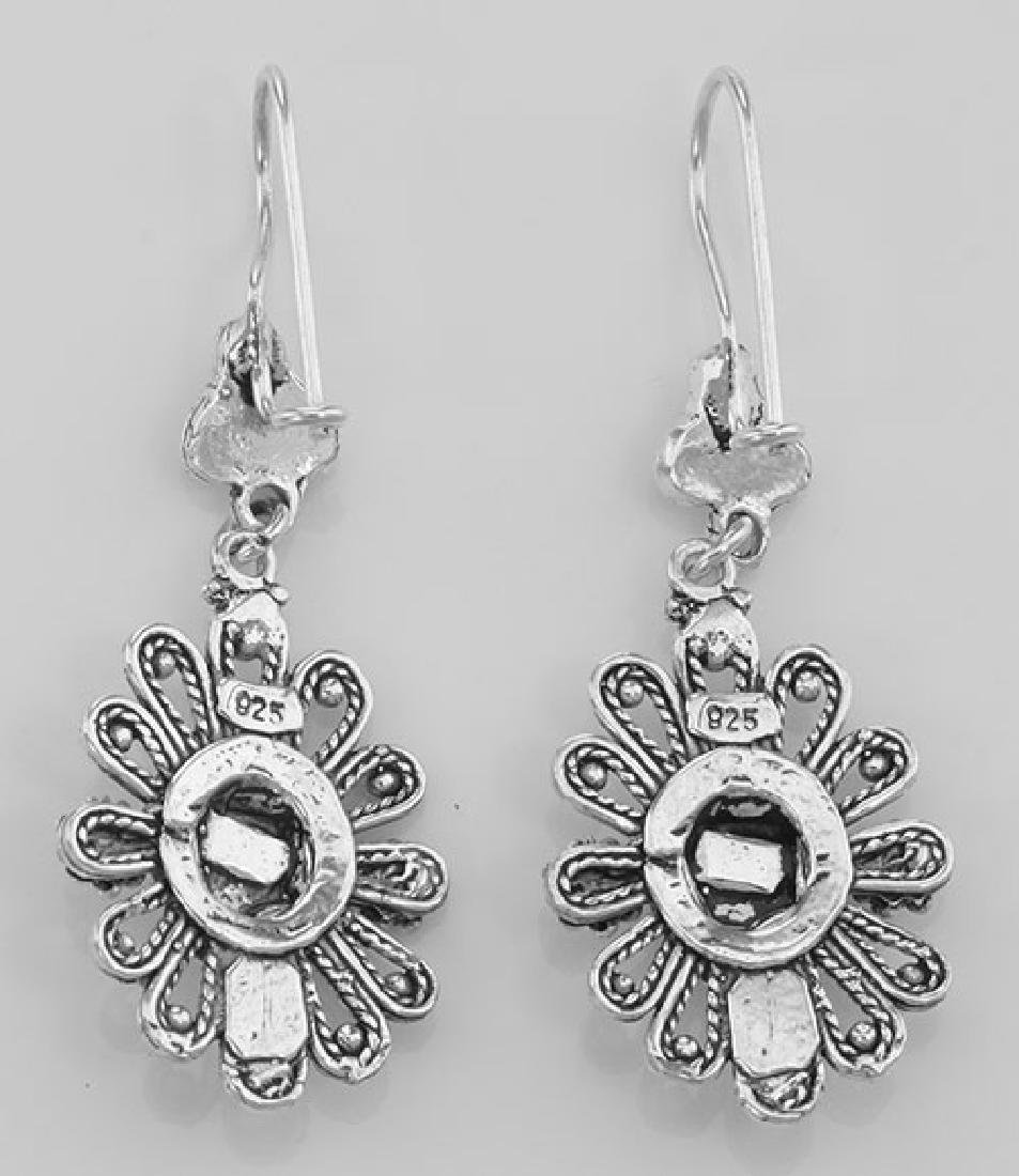 Antique Style Black Onyx Earrings with Flower Design - - 2