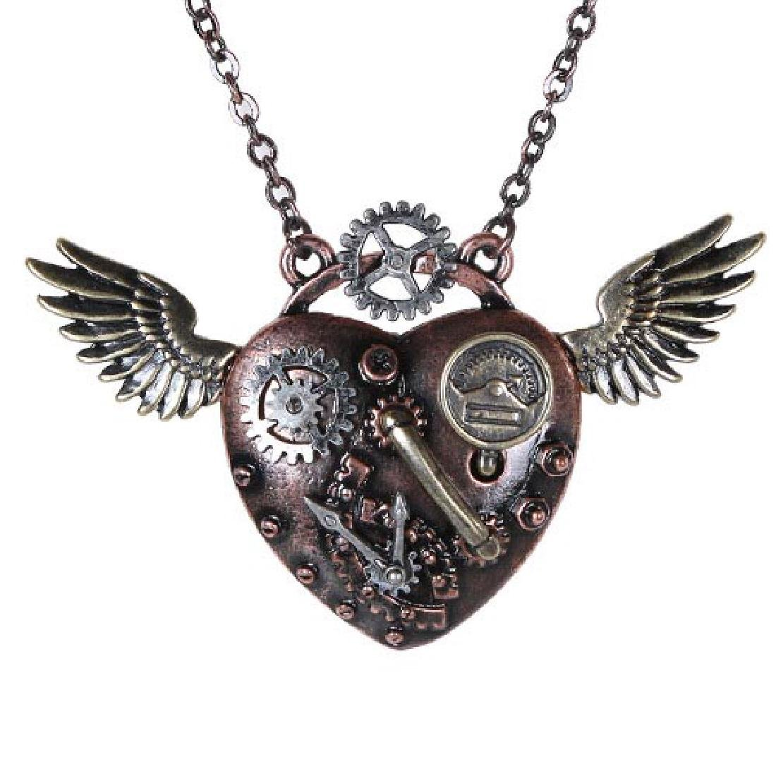 STEAMPUNK WING HEART NECKLACE