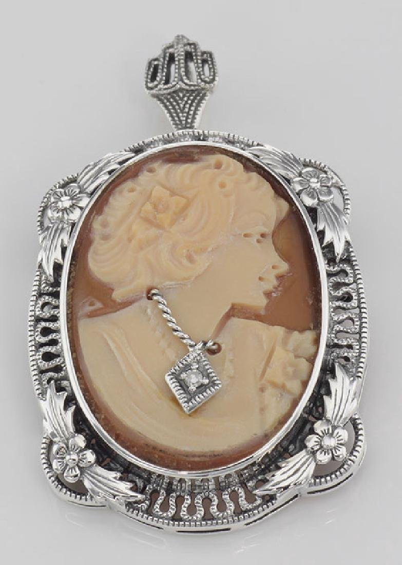 Victorian Floral Style Cameo Pin or Pendant with Diamon - 3