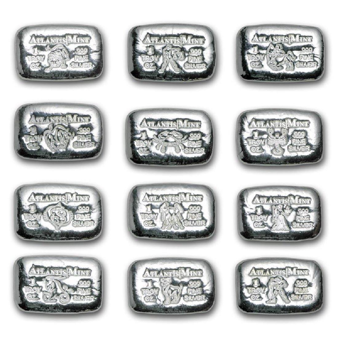 1 oz Silver Bar - Atlantis Mint (Zodiac Collection 12-P