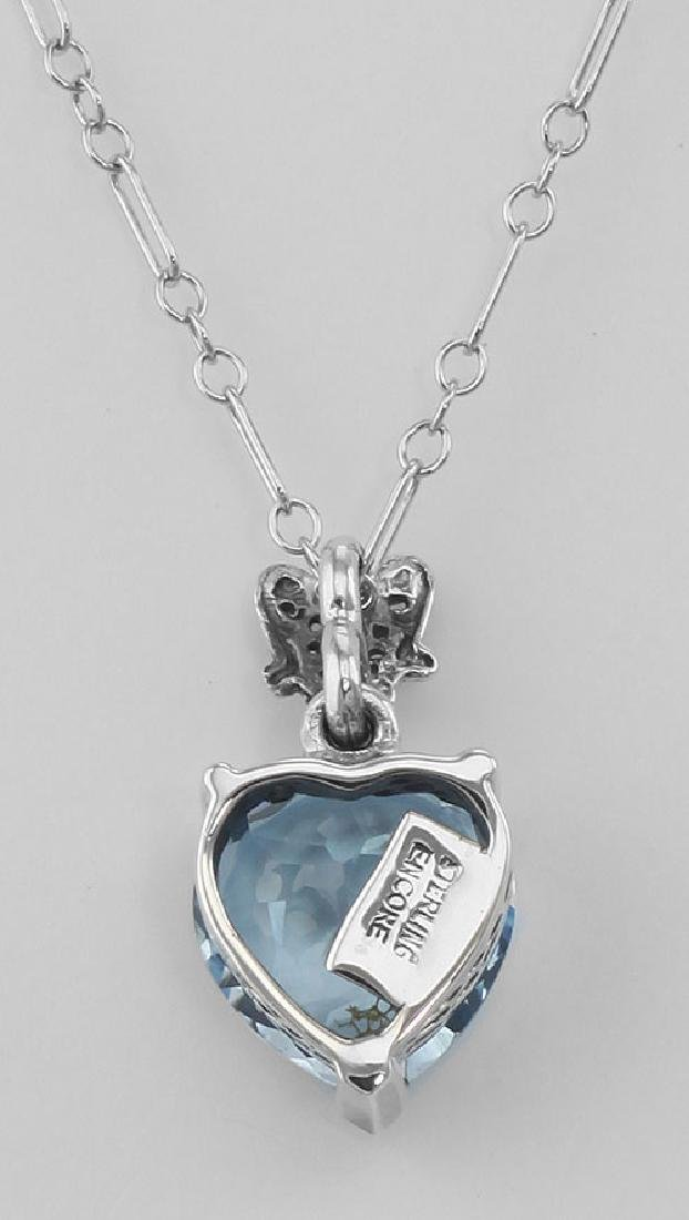Filigree Heart Shaped Blue Topaz Pendant - Sterling Sil - 2