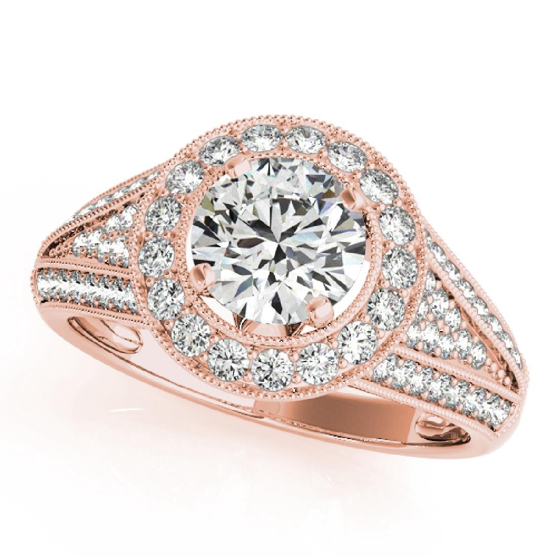 CERTIFIED 18K ROSE GOLD 1.09 CT G-H/VS-SI1 DIAMOND HALO