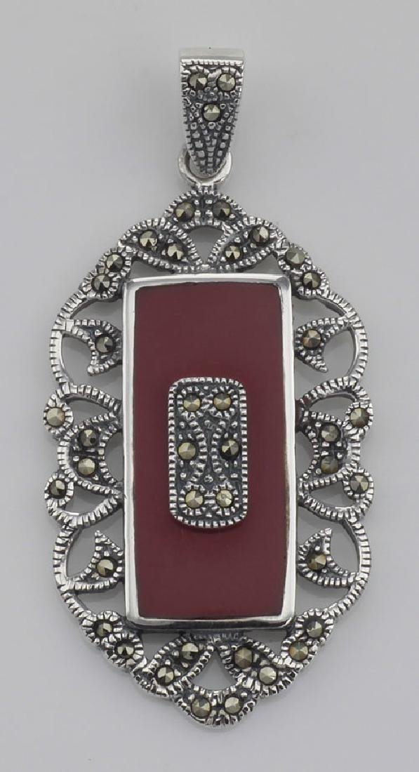 Red Coral Marcasite Pendant - Vintage Style - Sterling