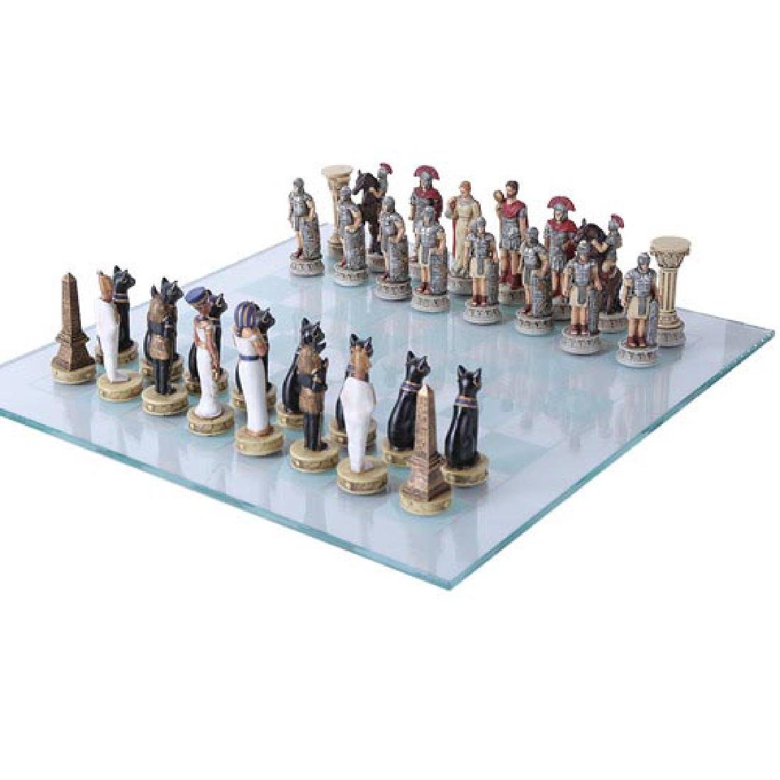 HAND PAINTED RESIN ROMAN VS EGYPTIAN CHESS SET WITH GLA