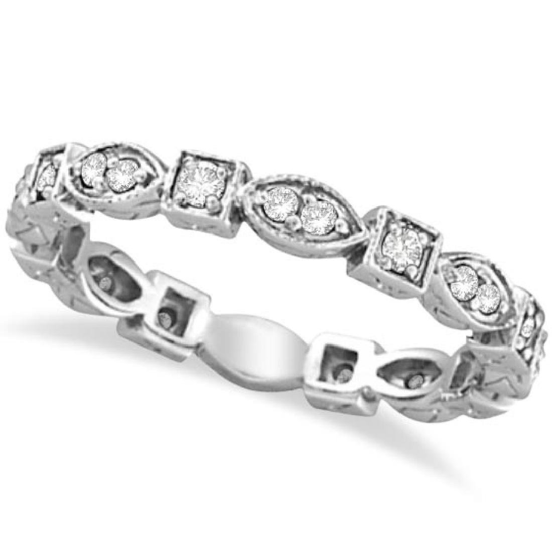 Antique Style Diamond Eternity Ring Band in 14k White G
