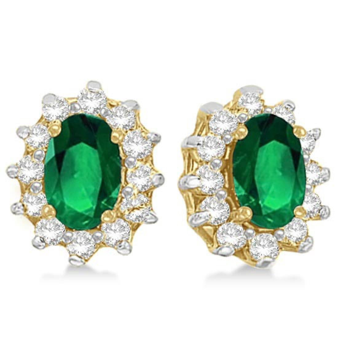 Oval Emerald and Diamond Accented Earrings 14k Yellow G