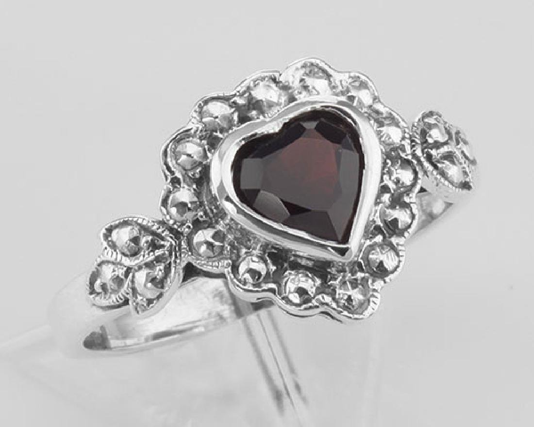 Heart Shaped Garnet Colored CZ Gemstone Ring - Sterling