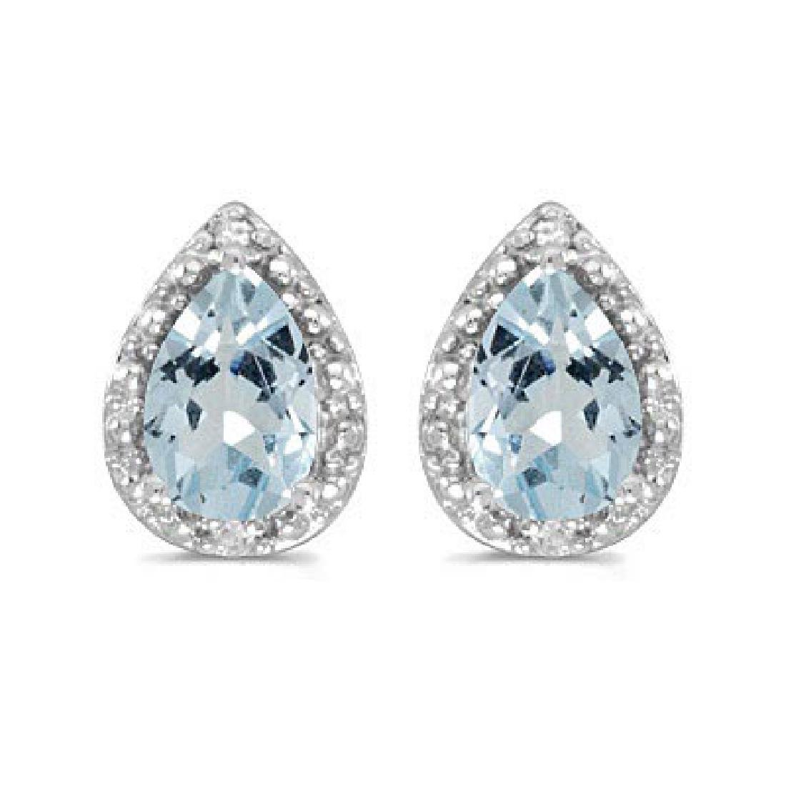 Pear Aquamarine and Diamond Stud Earrings 14k White Gol