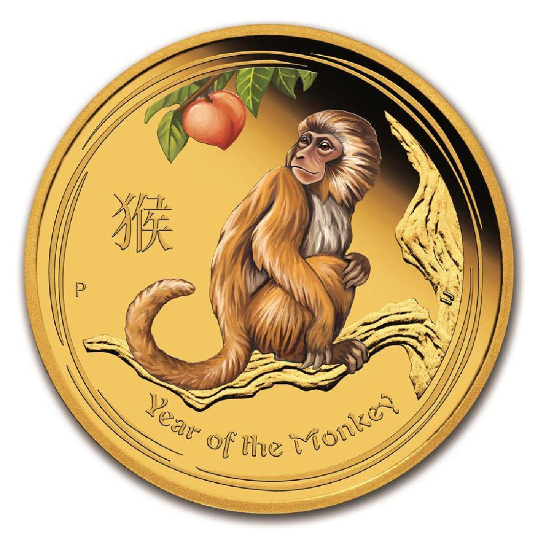 2016 Australia 1/10 oz Gold Lunar Monkey Proof (Coloriz