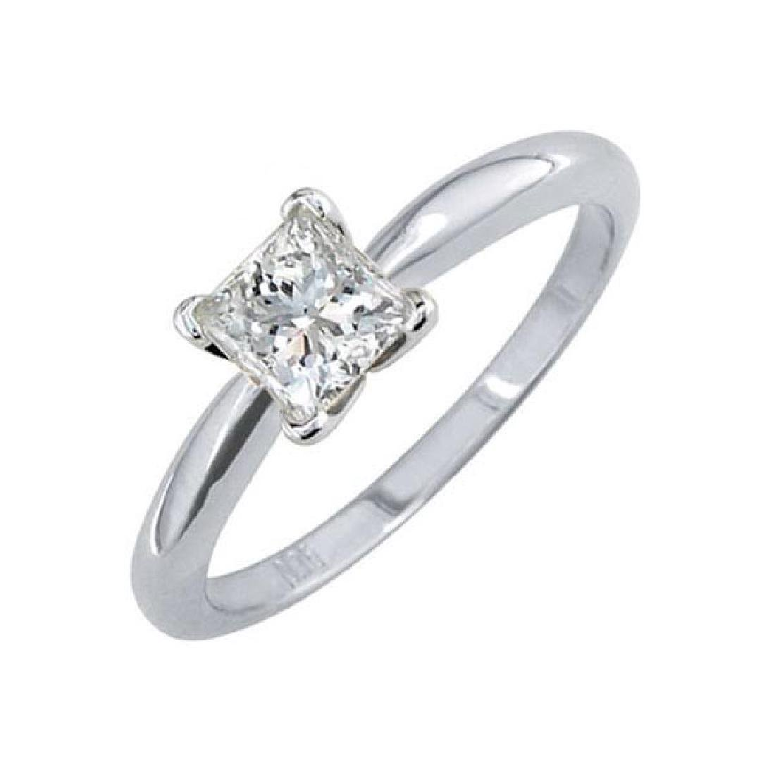 Certified 1.5 CTW Princess Diamond Solitaire 14k Ring D