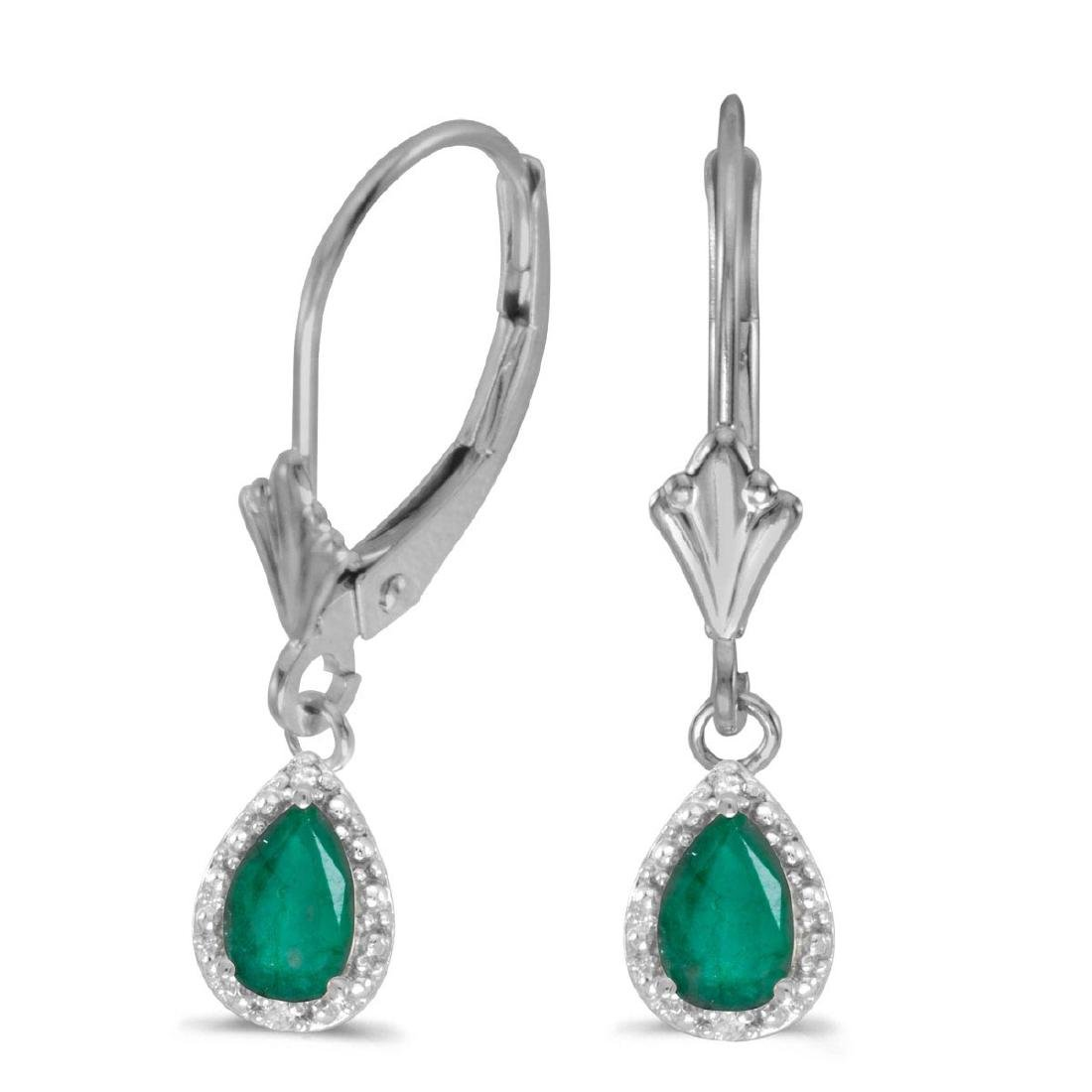 Certified 14k White Gold Pear Emerald And Diamond Lever