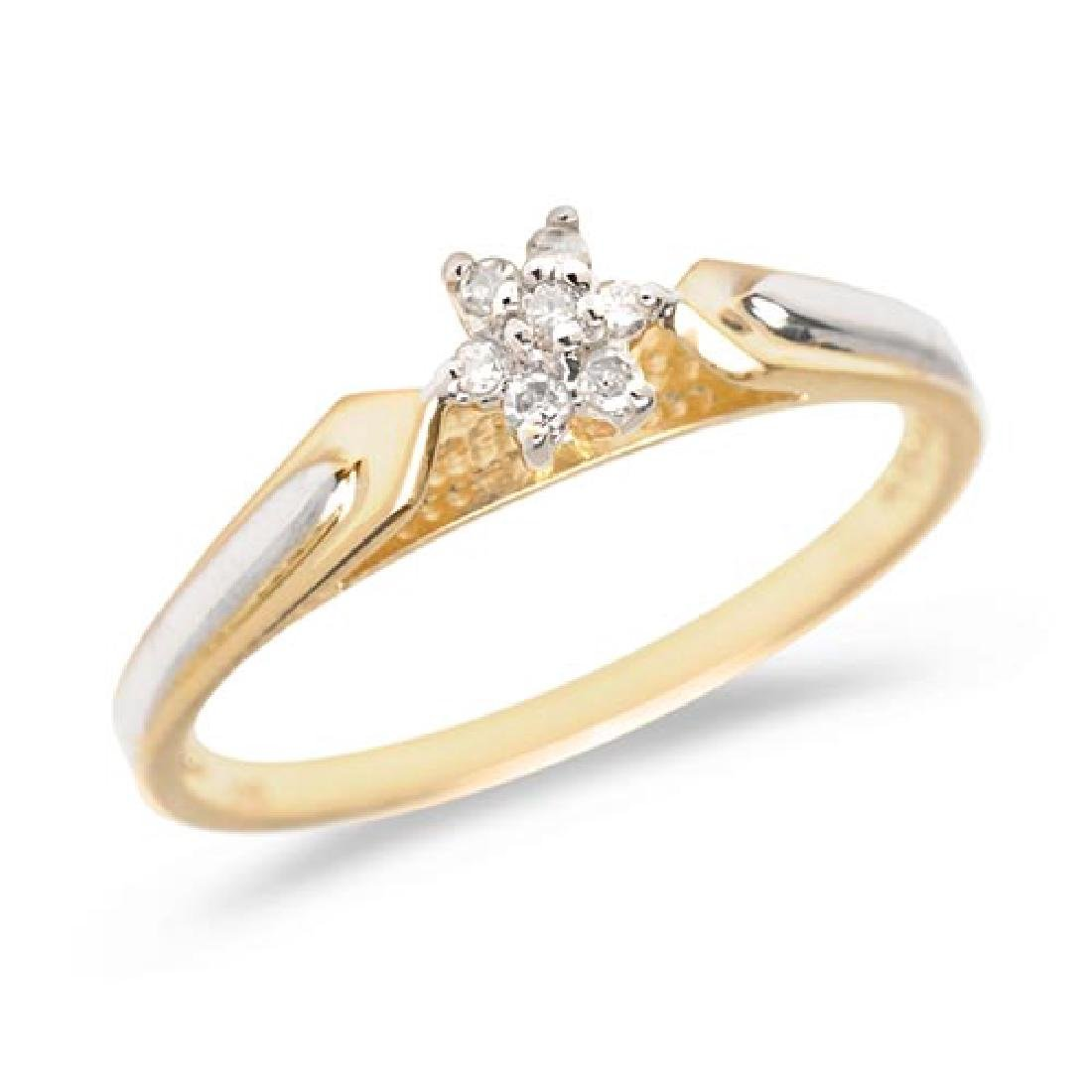 Certified 10K Yellow Gold Diamond Cluster Ring 0.07 CTW