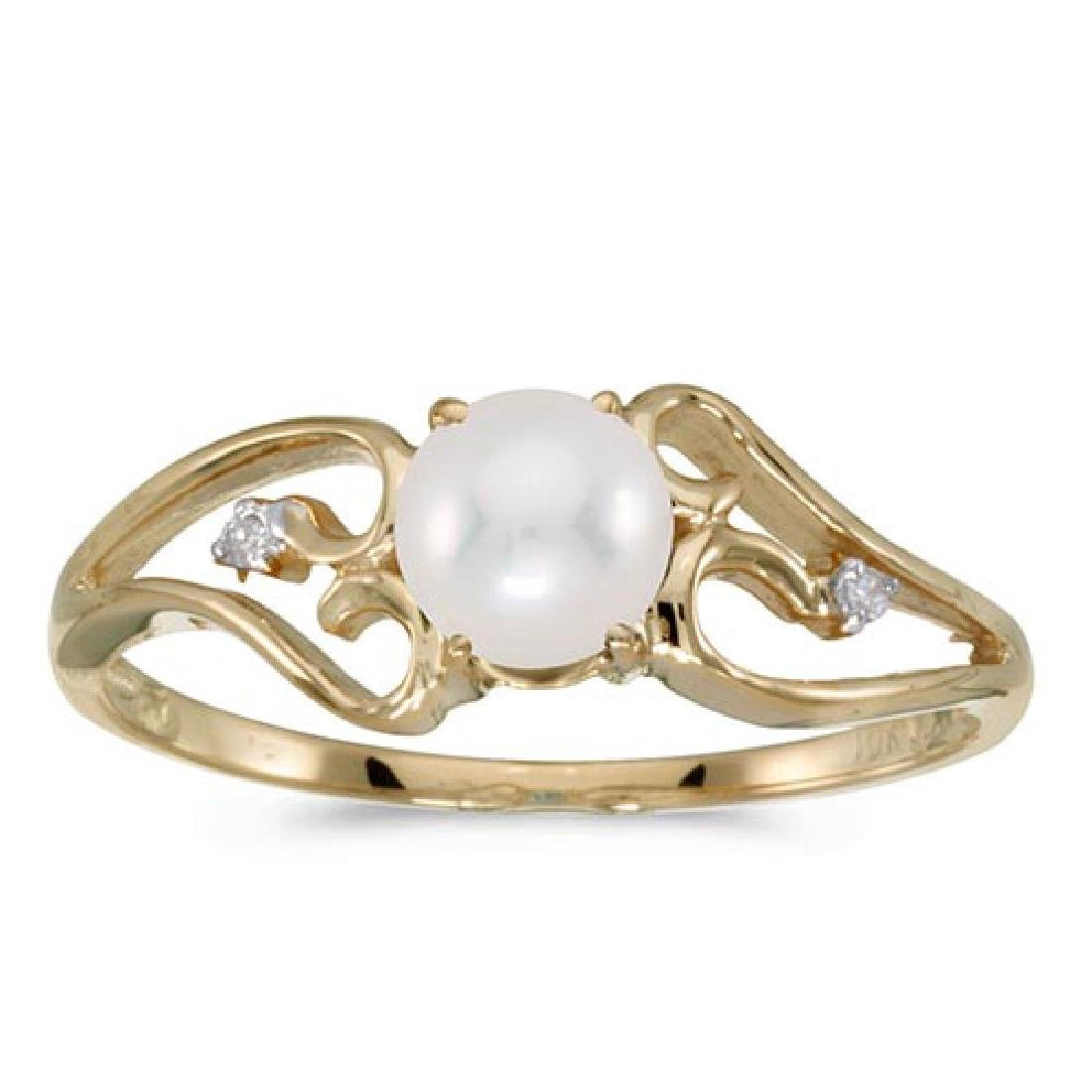 Certified 14k Yellow Gold Pearl And Diamond Ring 0.01 C
