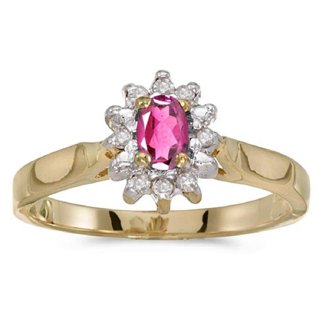 Certified 10k Yellow Gold Oval Pink Topaz And Diamond R
