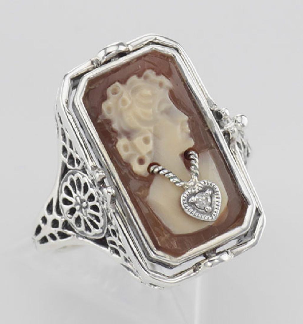 Italian Hand Carved Cameo w/ Diamond / Onyx Flip Ring -