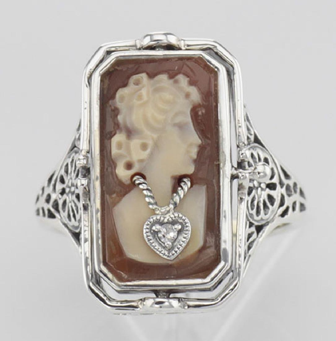 Italian Hand Carved Cameo w/ Diamond / Onyx Flip Ring - - 2