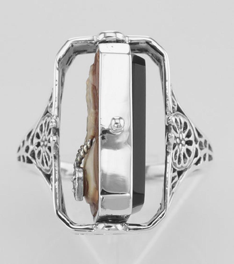 Italian Hand Carved Cameo w/ Diamond / Onyx Flip Ring - - 3
