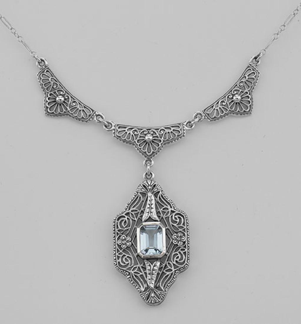 Unique Victorian Style Blue Topaz Filigree Necklace - S