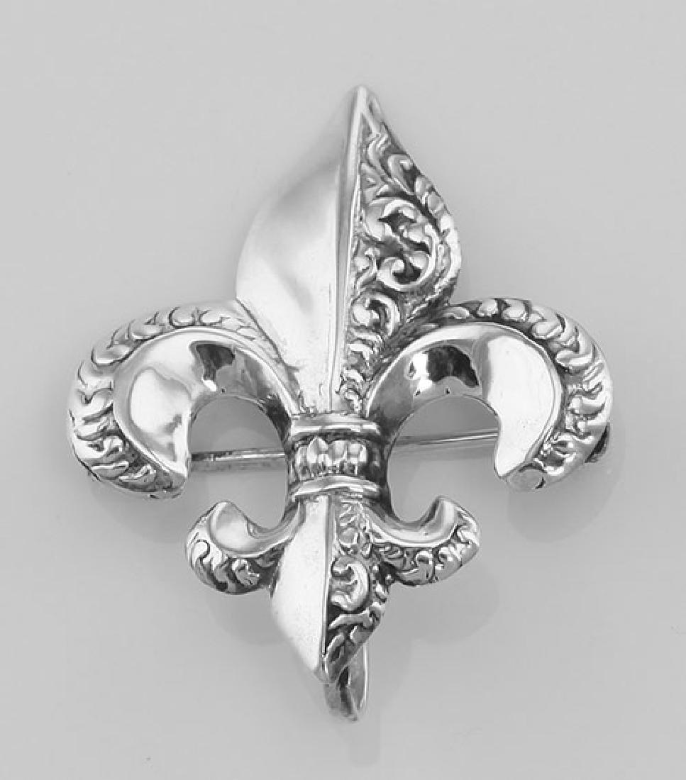 Fleur de Lis Pin - Charm Hanger - Sterling Silver