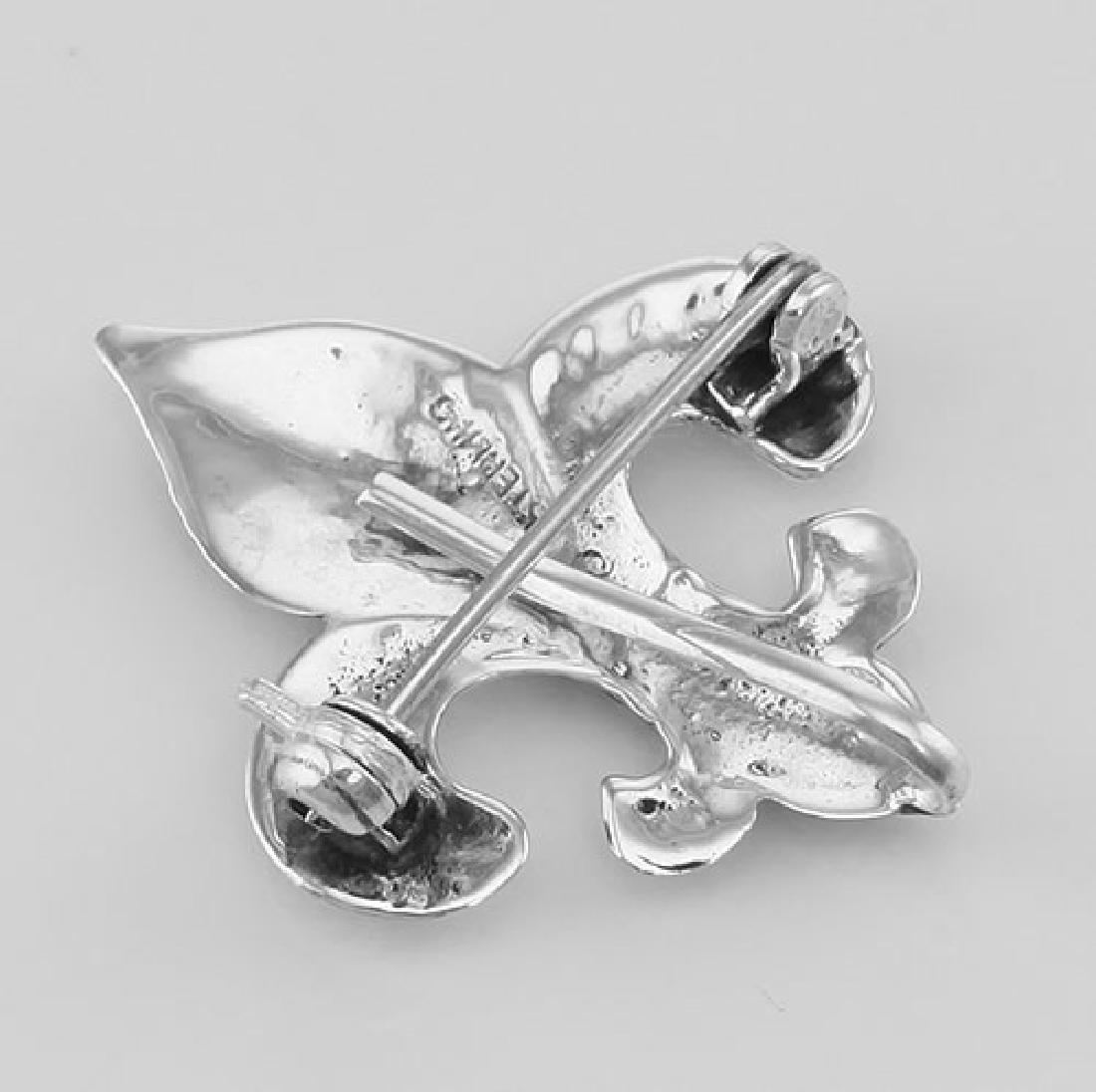 Fleur de Lis Pin - Charm Hanger - Sterling Silver - 3