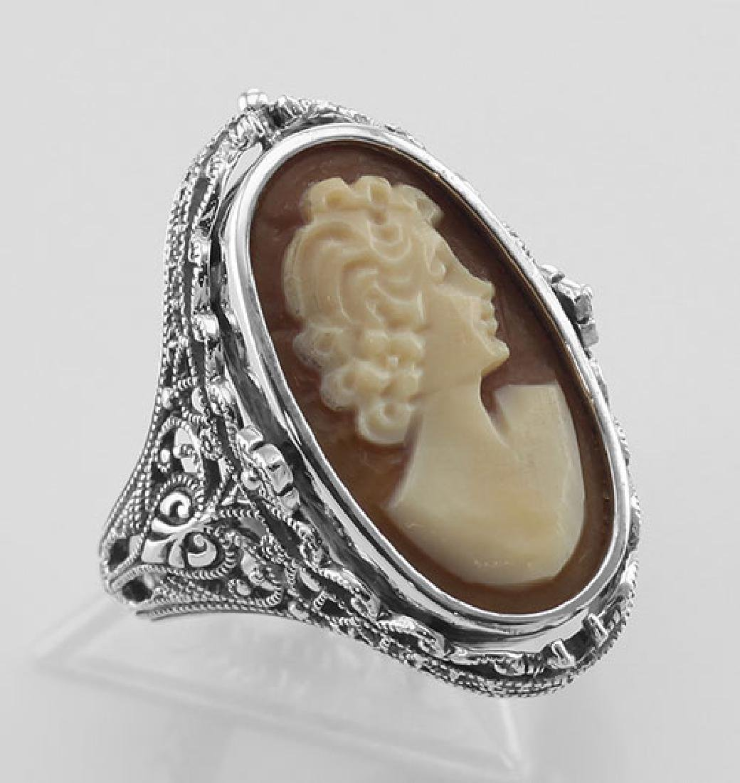 Antique Style Cameo / Onyx Filigree Flip Ring w / Diamo