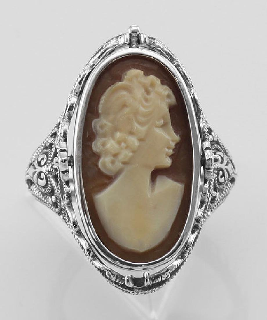 Antique Style Cameo / Onyx Filigree Flip Ring w / Diamo - 2