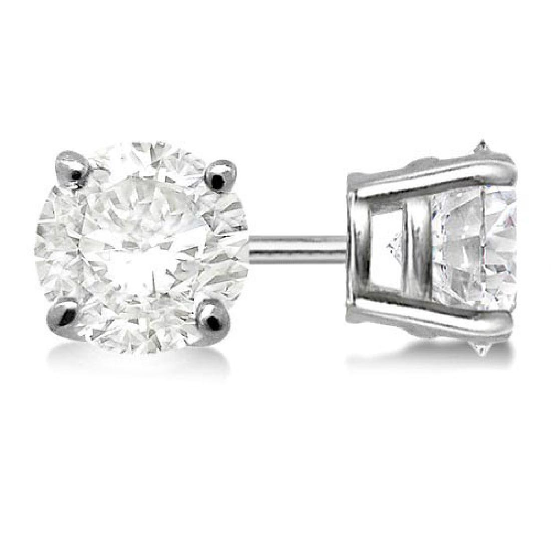 Certified 0.94 CTW Round Diamond Stud Earrings F/SI2