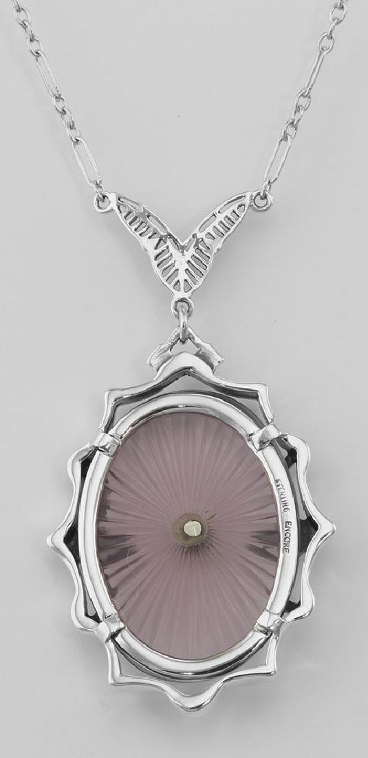 Amethyst Sunray Crystal & Diamond Necklace - Sterling S - 2
