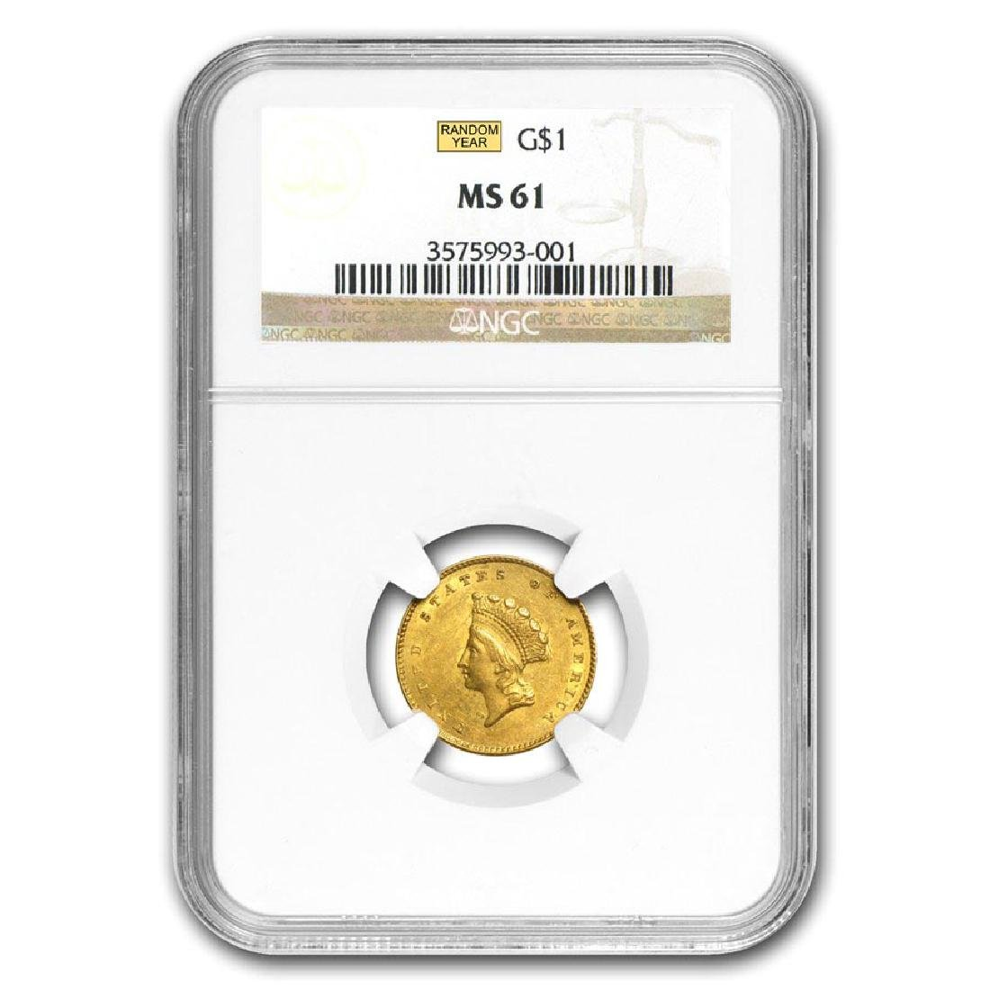 $1 Indian Head Gold Type 2 MS-61 NGC/PCGS