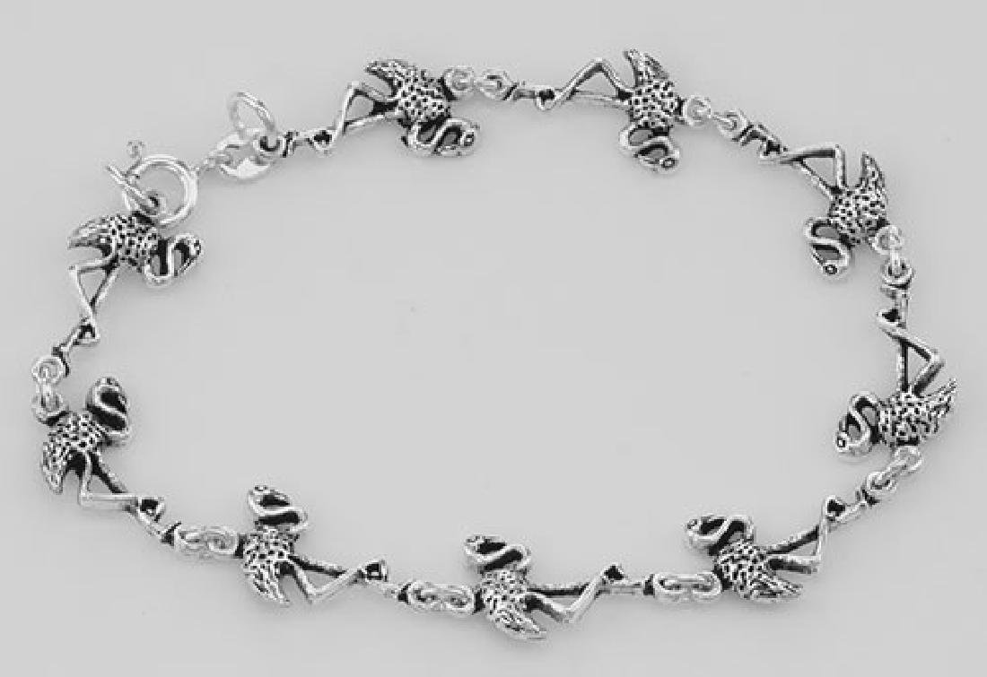 Beautiful Flamingo Link Bracelet - Sterling Silver