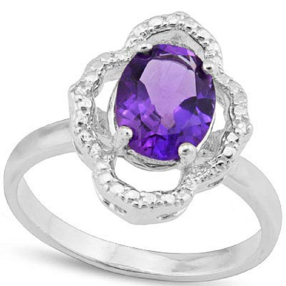 1.682 CARAT TW AMETHYST & GENUINE DIAMOND PLATINUM OVER