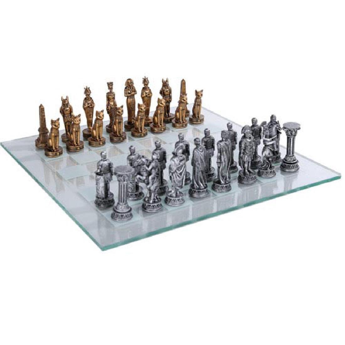 HAND PAINTED RESIN EGYPTIAN VS ROMAN CHESS SET WITH GLA