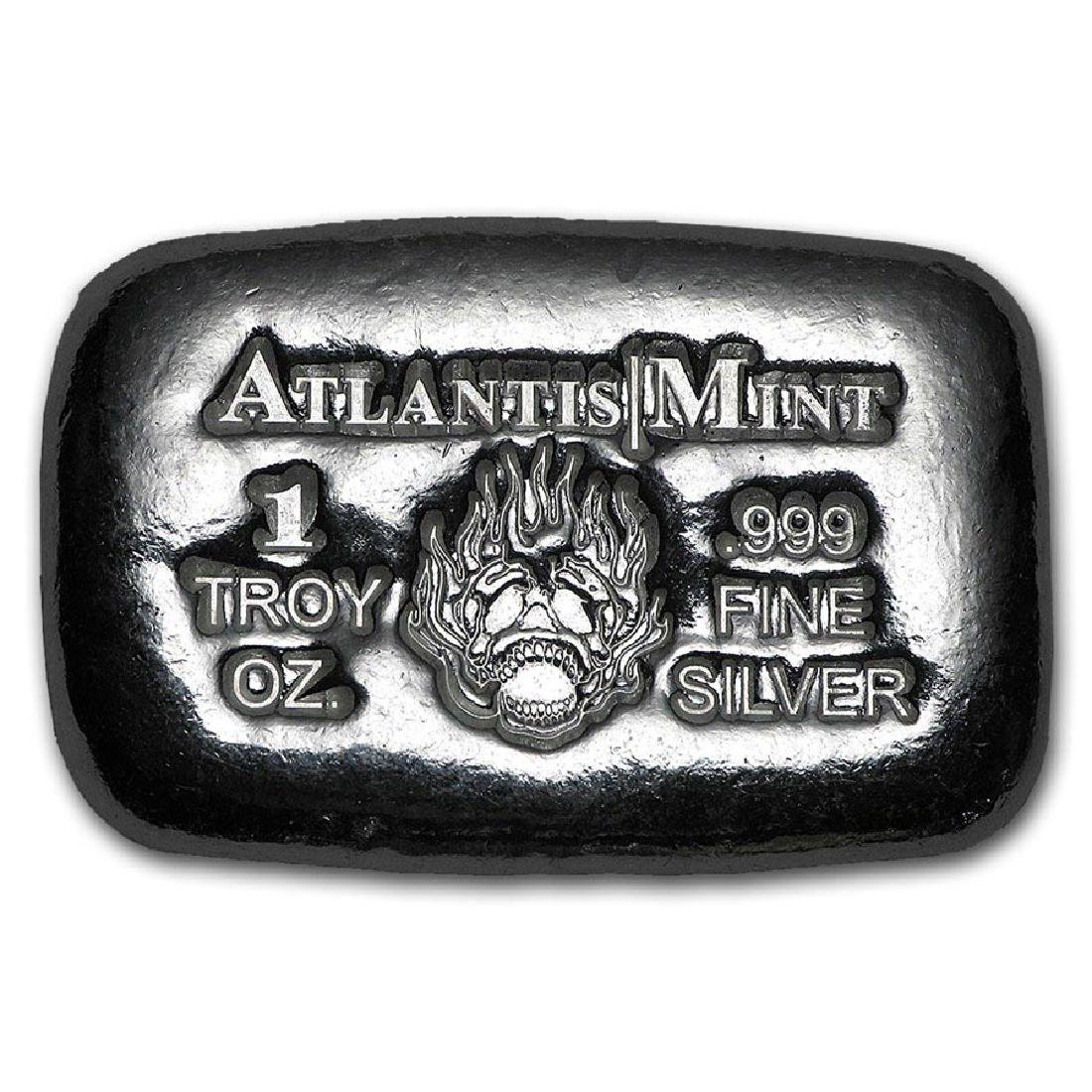 1 oz Silver Bar - Atlantis Mint (Skull & Flames)