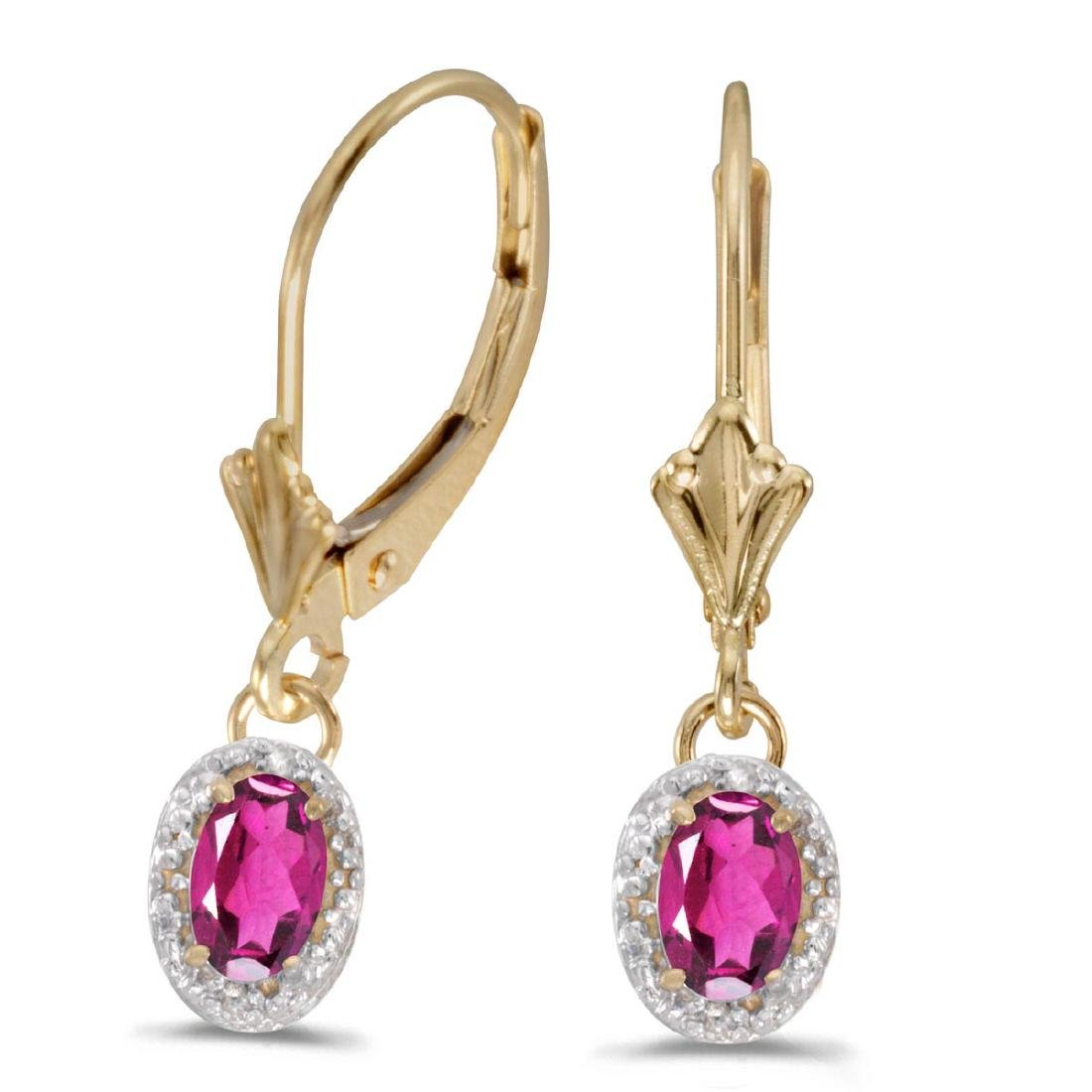 Certified 10k Yellow Gold Oval Pink Topaz And Diamond L