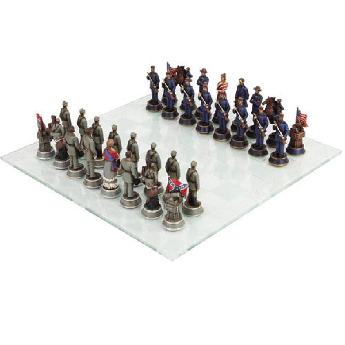 CIVIL WAR CHESS SET WITH GLASS BOARD